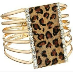 Hinged Leopard Guess Cuff
